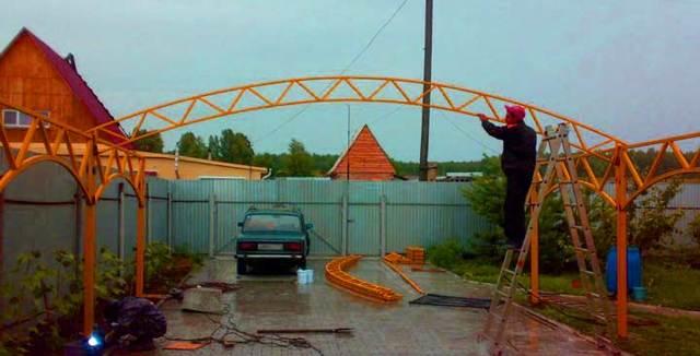 Как сделать арочный навес без оборудования: видео-инструкция