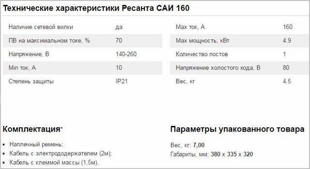 Ресанта САИ-160 – отзывы, характеристики, описание сварочного инвертора